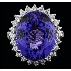 14KT White Gold 19.12ct Tanzanite and Diamond Ring