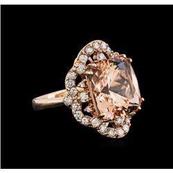 10.80ct Morganite and Diamond Ring - 14KT Rose Gold