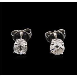 1.06ctw Diamond Solitaire Earrings - 14KT White Gold