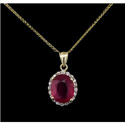 9.00ct Ruby and Diamond Pendant With Chain - 14KT Yellow Gold