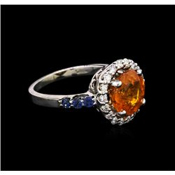 4.10ct Spessartite, Sapphire and Diamond Ring - 14KT White Gold