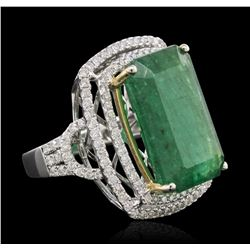 14KT Two-Tone Gold 12.39ct Emerald and Diamond Ring