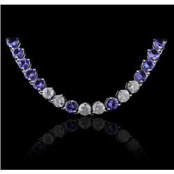 14KT White Gold 31.90ctw Tanzanite and Diamond Necklace