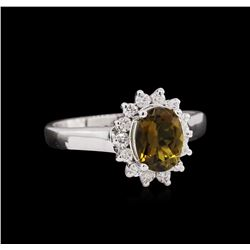 1.18ct Green Tourmaline and Diamond Ring - 14KT White Gold