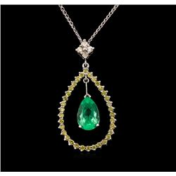 2.18ct Emerald and Diamond Pendant With Chain - 14KT White Gold