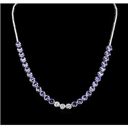 14KT White Gold 12.74ctw Tanzanite and Diamond Necklace