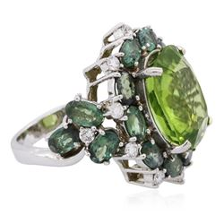 18KT White Gold 9.54ct Peridot, Chrysoberyls and Diamond Ring