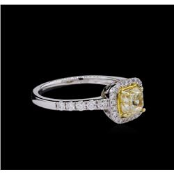 14KT White Gold 1.05ct SI1/Light Yellow Diamond Ring