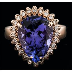 14KT Rose Gold 6.11ct Tanzanite and Diamond Ring