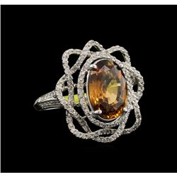 6.19ct Honey Zircon and Diamond Ring - 14KT White Gold
