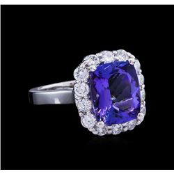 4.60ct Tanzanite and Diamond Ring - 14KT White Gold