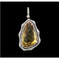 20.26ct Citrine and Diamond Pendant - 14KT Yellow Gold