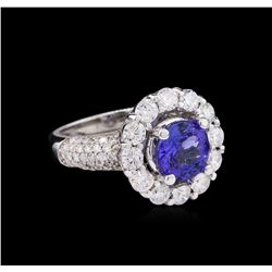 14KT White Gold 2.23ct Tanzanite and Diamond Ring