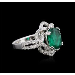 14KT White Gold 2.30ct Emerald and Diamond Ring