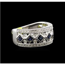 1.10ctw Blue Sapphire and Diamond Ring - 14KT White Gold