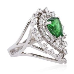 14KT White Gold 2.08ct Tsavorite and Diamond Ring