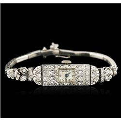 Platinum 0.72ctw Diamond Vintage Ladies Watch