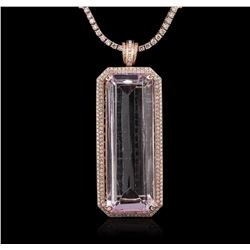 14KT Rose Gold GIA Certified 162.70ct Kunzite and Diamond Pendant With Chain