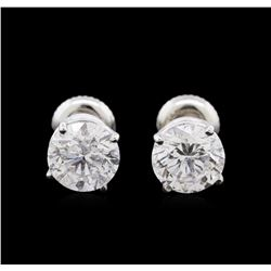 3.10ctw Diamond Solitaire Earrings - 14KT White Gold