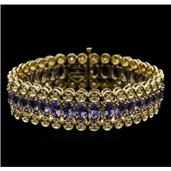 14KT Yellow Gold 20.84ctw Tanzanite and Diamond Bracelet