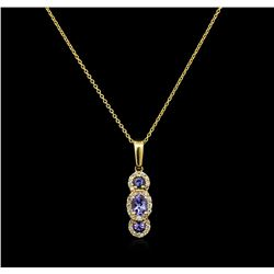 0.56ctw Tanzanite and Diamond Pendant With Chain - 14KT Yellow Gold