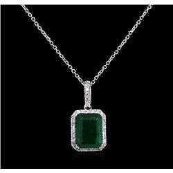 3.65ct Emerald and Diamond Pendant With Chain - 14KT White Gold