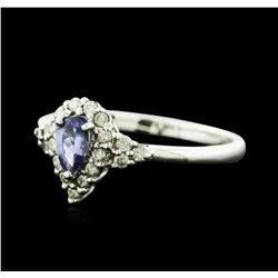 14KT White Gold 0.35ct Tanzanite and Diamond Ring