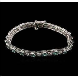 14KT White Gold 4.00ctw Chrysoberyl and Diamond Bracelet