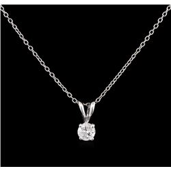 0.22ct Diamond Pendant With Chain - 14KT White Gold