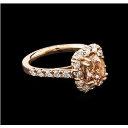 1.98ct Morganite and Diamond Ring - 14KT Rose Gold