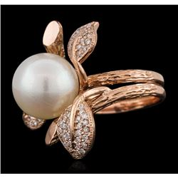 14KT Rose Gold 0.62ctw Diamond and Pearl Ring