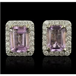 14KT Two-Tone Gold 1.68ctw Amethyst and Diamond Earrings