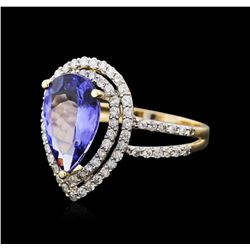 14KT Yellow Gold 3.19ct Tanzanite and Diamond Ring
