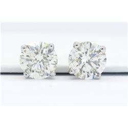 GIA Certified 2.11ctw Diamond Stud Earrings - 14K White Gold
