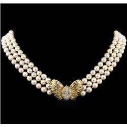 Pearl and Diamond Necklace - 14KT Yellow Gold
