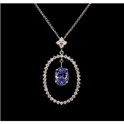 2.69ct Tanzanite and Diamond Pendant With Chain - 14KT White Gold