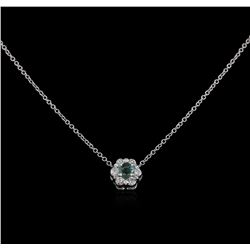 0.15ct Emerald and Diamond Pendant With Chain - 14KT White Gold