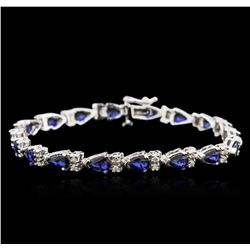 14KT White Gold 7.74ctw Sapphire and Diamond Bracelet