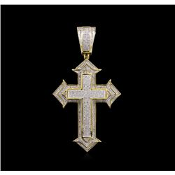 1.25ctw Diamond Cross Pendant - 10KT Two-Tone Gold