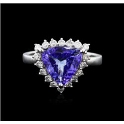 14KT White Gold 3.02ct Tanzanite and Diamond Ring