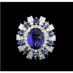 14KT White Gold 4.17ct Tanzanite, Sapphire and Diamond Ring