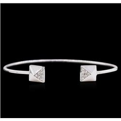 0.14ctw Diamond Bangle Bracelet - 14KT White Gold