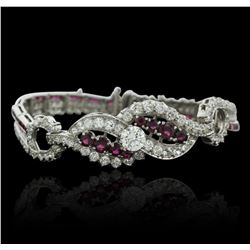 Platinum 4.98ctw Diamond and Ruby Bracelet
