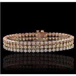 14KT Three-Tone Gold 6.54ctw Diamond Bracelet