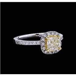 1.34ctw Fancy Light Yellow Diamond Ring - 14KT Two-Tone Gold