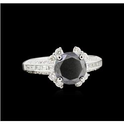 2.74ctw Black Diamond Ring - 18KT White Gold