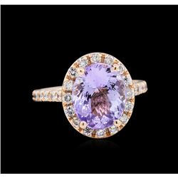 3.63ct Tanzanite and Diamond Ring - 14KT Rose Gold