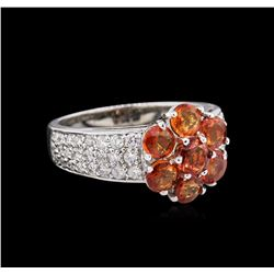 2.46ctw Orange Sapphires and Diamond Ring - `14KT White Gold
