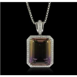 14KT White Gold 28.42ct Quartz and Diamond Pendant With Chain