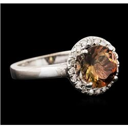 14KT White Gold 1.97ct Brown Tourmaline and Diamond Ring